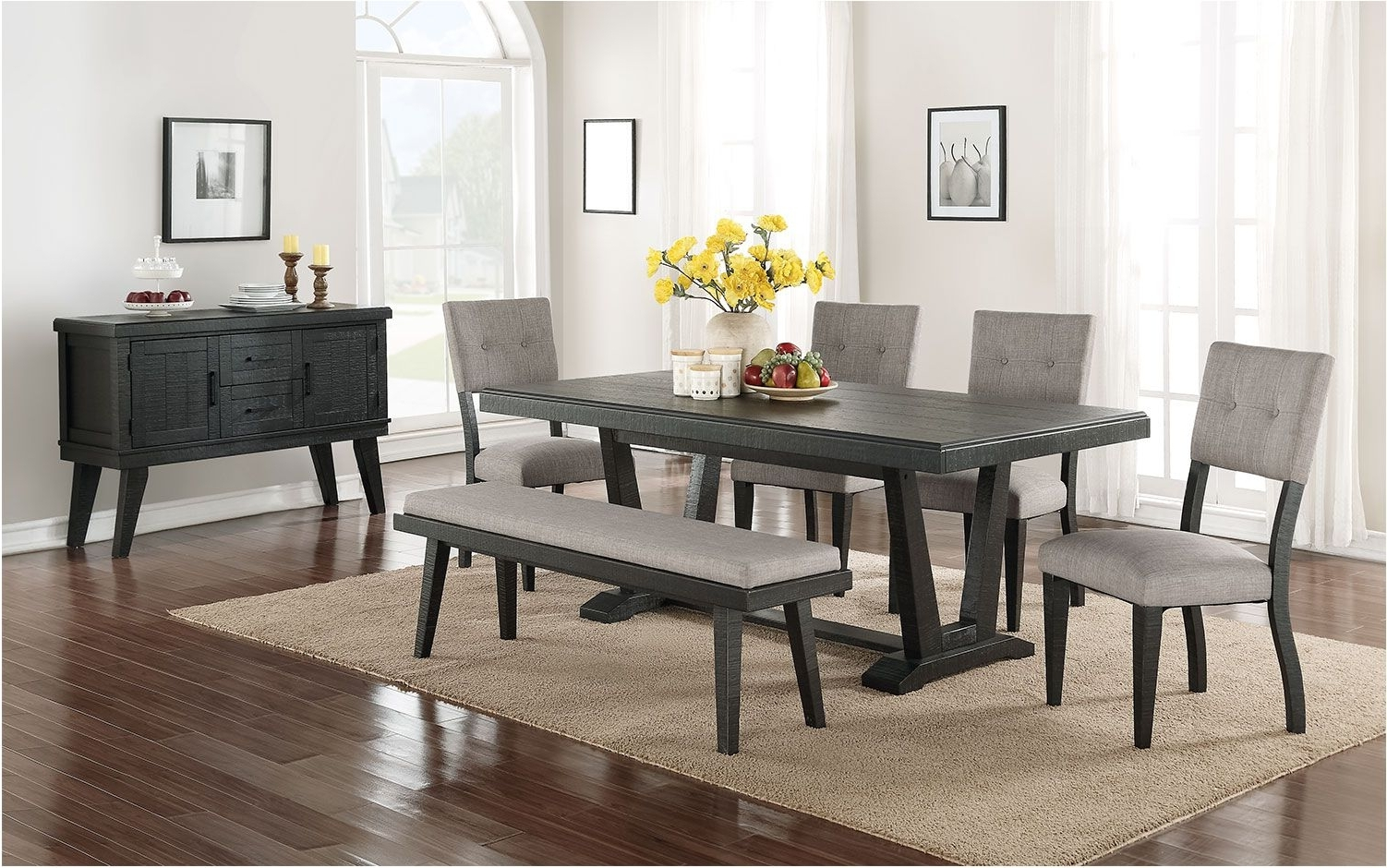 Leon Dining Tables For Newest Stunning 6 Piece Dining Room Set Black And Grey Leon – Dining Room (View 9 of 25)