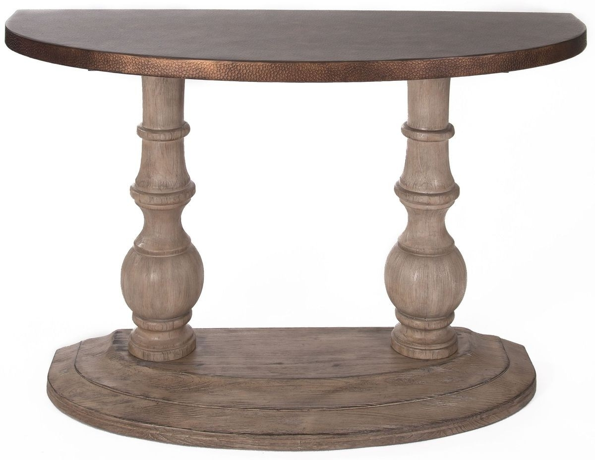 Liberty Furniture Alamosa Half Moon Sofa Table In Weathered Light Regarding Well Known Half Moon Dining Table Sets (View 14 of 25)