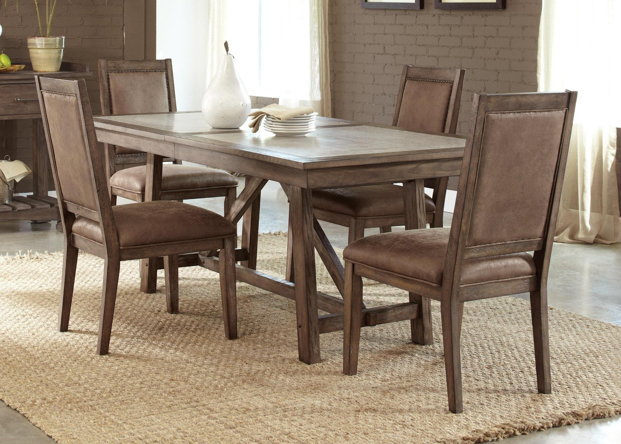 Liberty Furniture Stone Brook Casual Cement Top Trestle Table Pertaining To Popular Stone Dining Tables (View 14 of 25)
