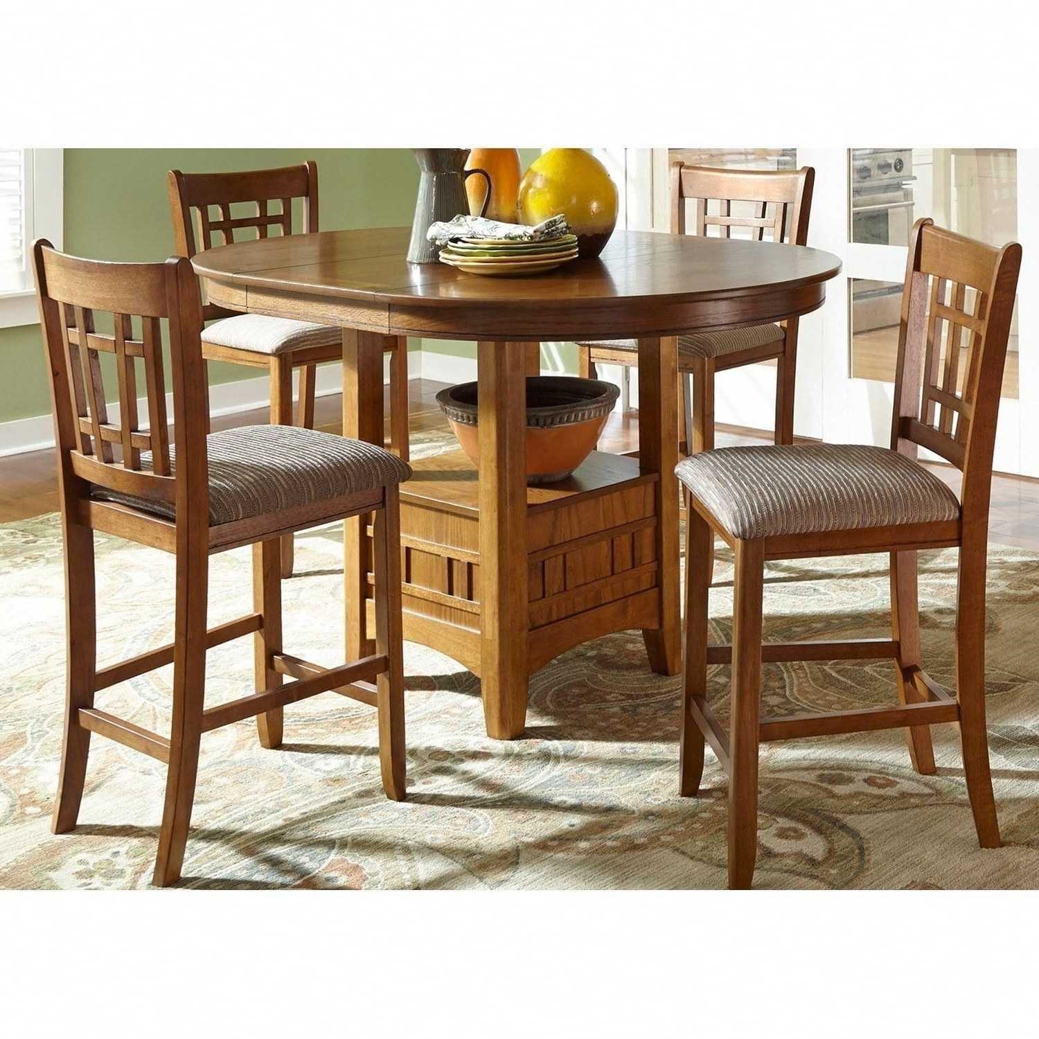 Liberty Santa Rosa Mission Oak Wood 5 Piece Counter Height Pub Set Within Newest Craftsman 5 Piece Round Dining Sets With Side Chairs (View 15 of 25)