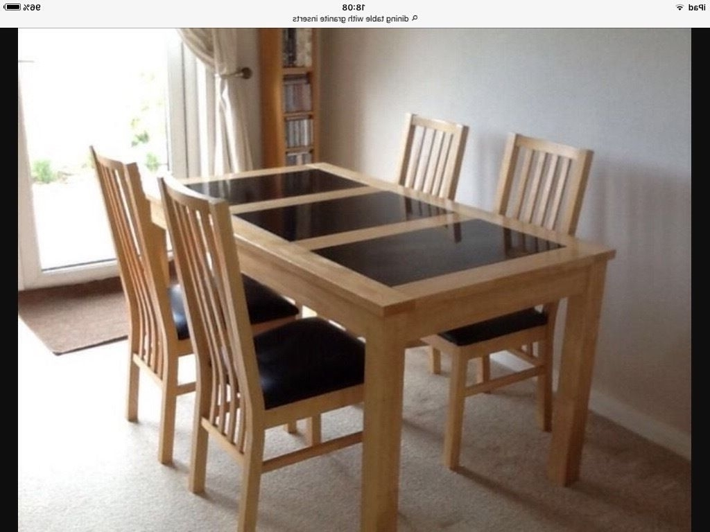 Light Oak Dining Tables And Chairs In Most Recent Light Oak Dining Table With Granite Inserts (View 8 of 25)