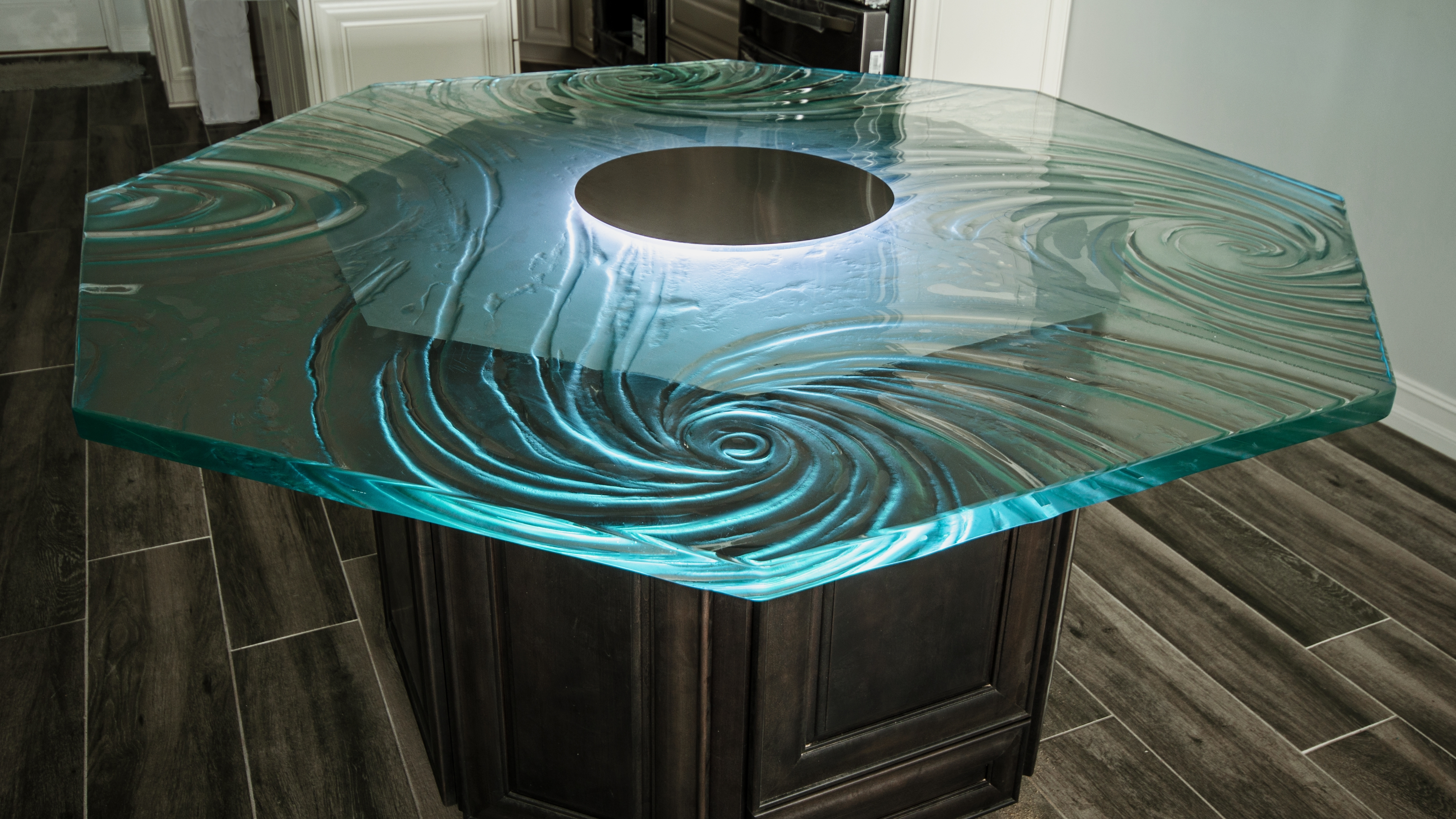 Lighting Glass Countertops…which Method Is Best? – Downing Designs With Favorite Dining Tables With Led Lights (View 15 of 25)