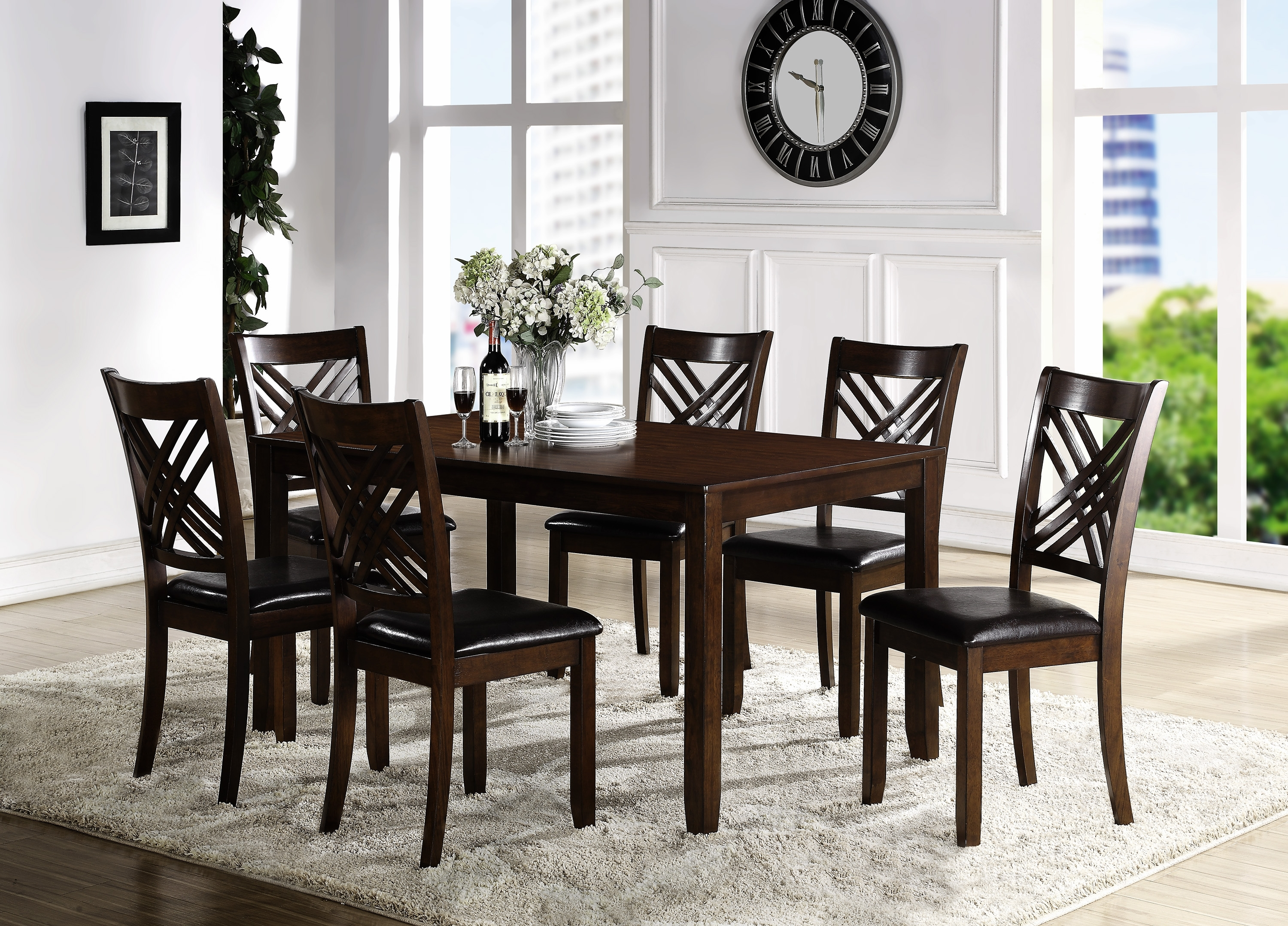 Lindy Espresso Rectangle Dining Tables Inside Most Recently Released Crown Mark Eloise Dining Room Table With Six Crossback Side Chairs (View 12 of 25)