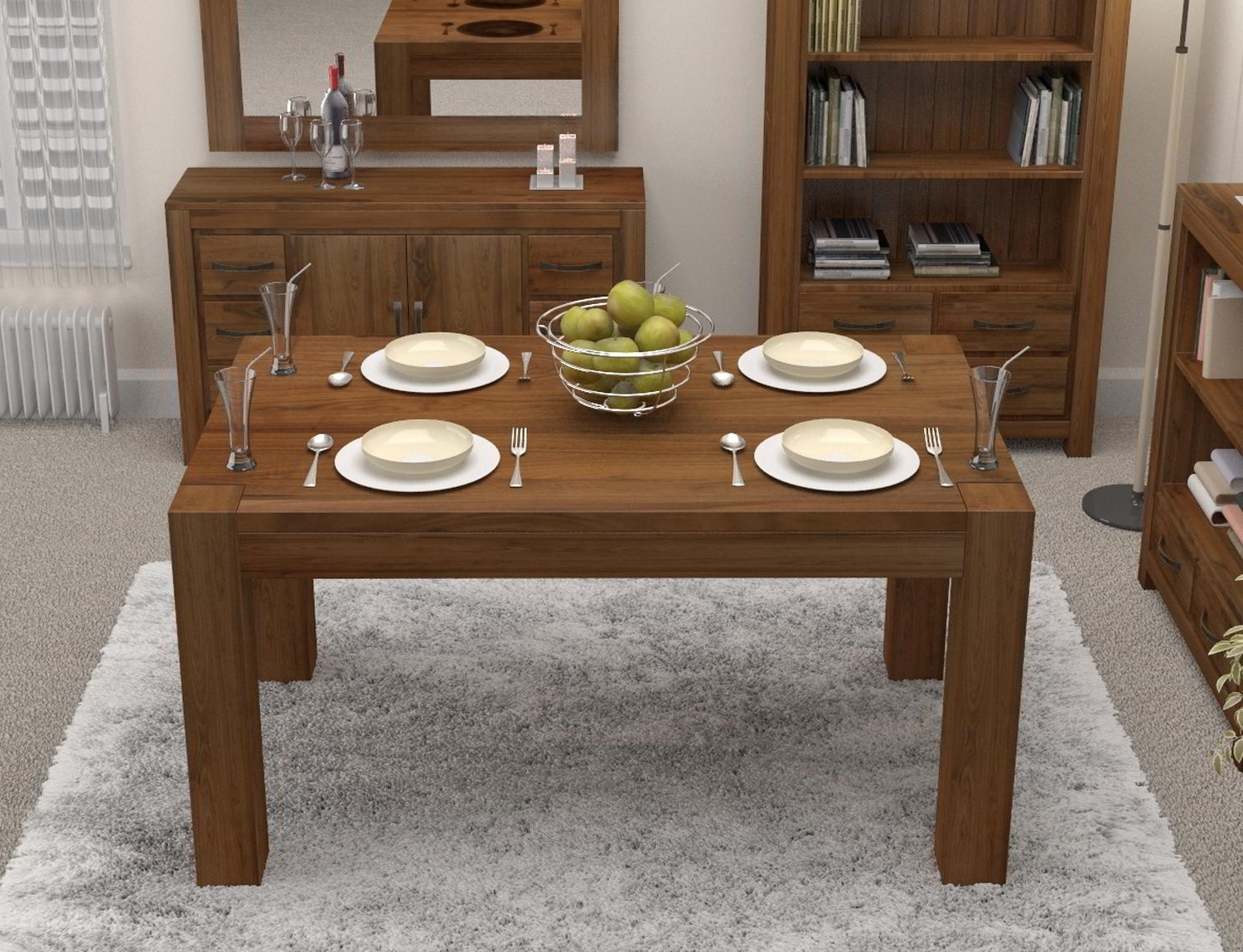 Linea Solid Walnut Home Dining Room Furniture Four Seater Dining With Most Up To Date Small 4 Seater Dining Tables (View 13 of 25)