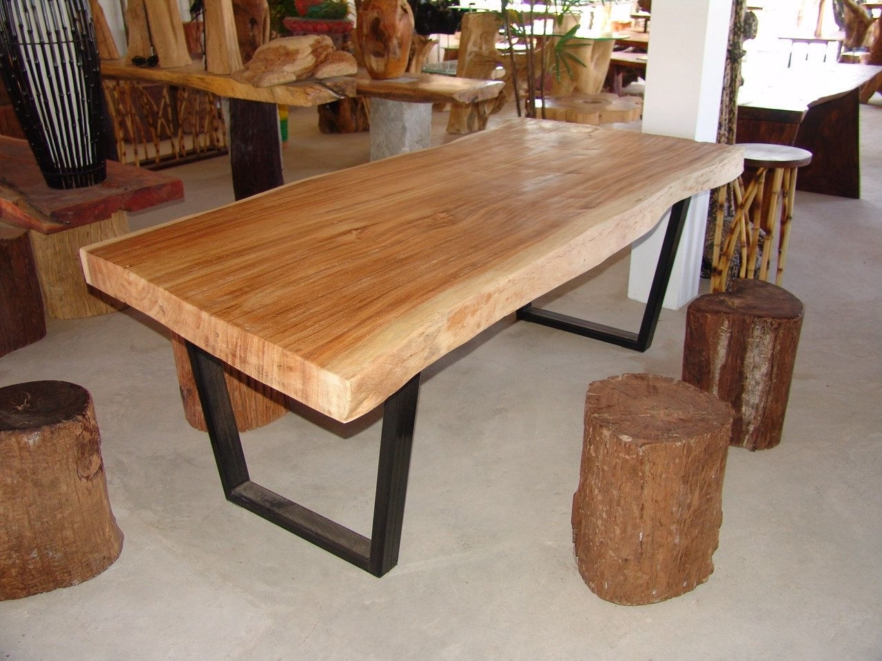 Live Edge Dining Table Acacia Wood Live Edge Reclaimed Solid Slab Pertaining To Well Known Tree Dining Tables (View 9 of 25)