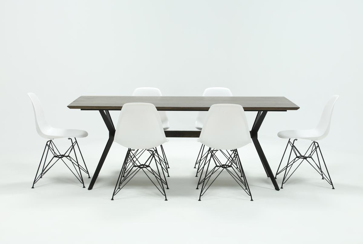 Featured Photo of Weaver Dark 7 Piece Dining Sets With Alexa White Side Chairs