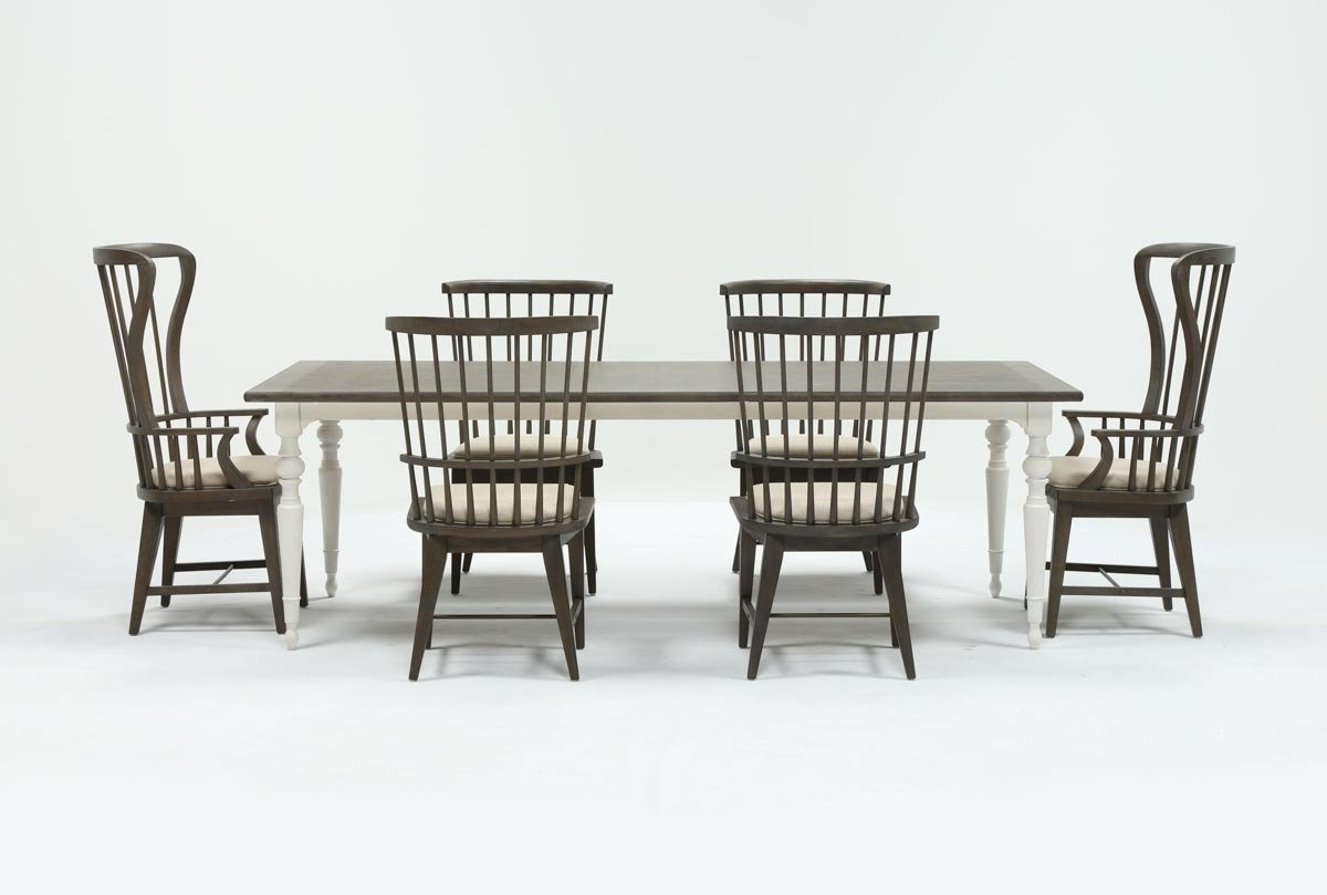Living Spaces Inside Trendy Candice Ii 7 Piece Extension Rectangular Dining Sets With Uph Side Chairs (View 1 of 25)