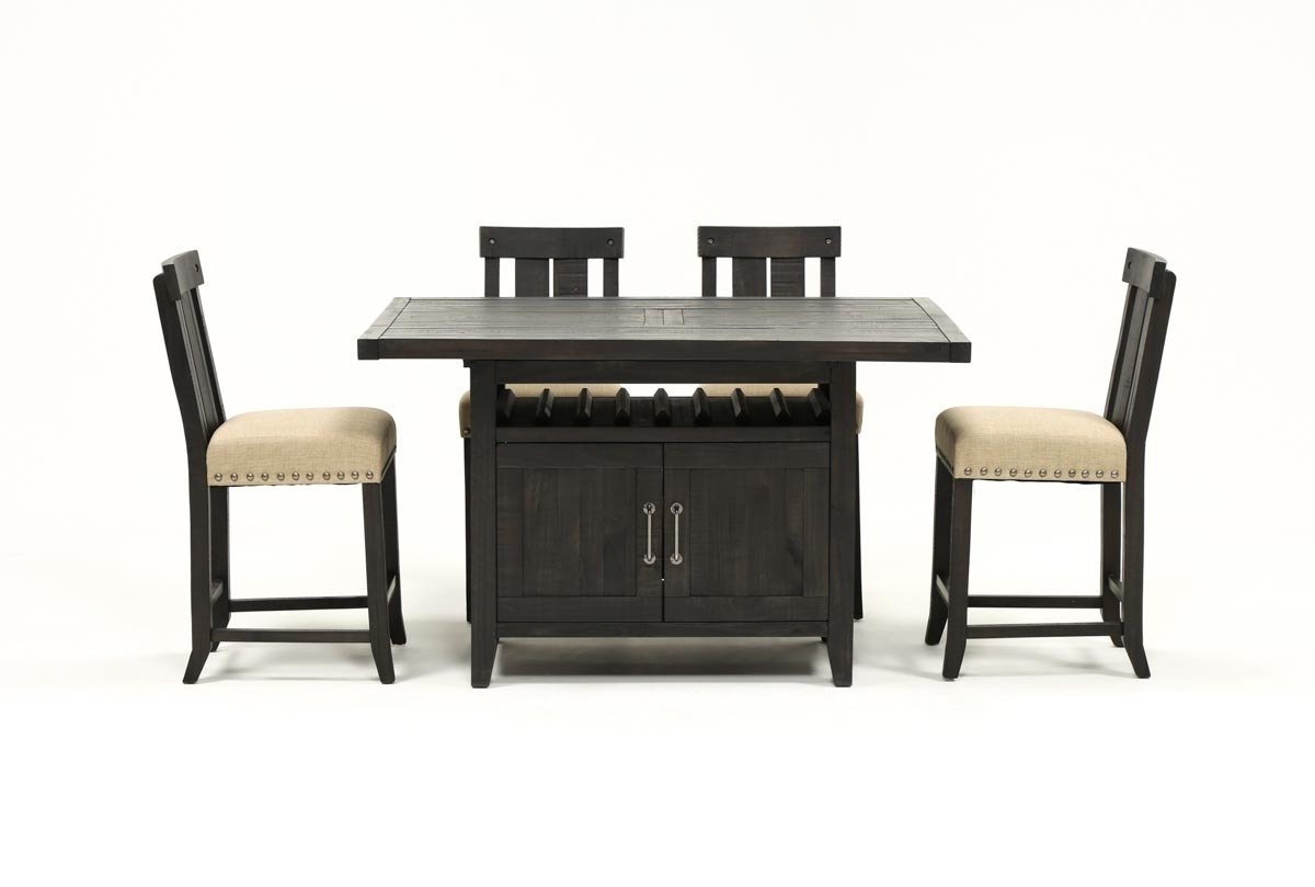 Living Spaces Intended For Jaxon Grey 5 Piece Extension Counter Sets With Fabric Stools (View 15 of 25)