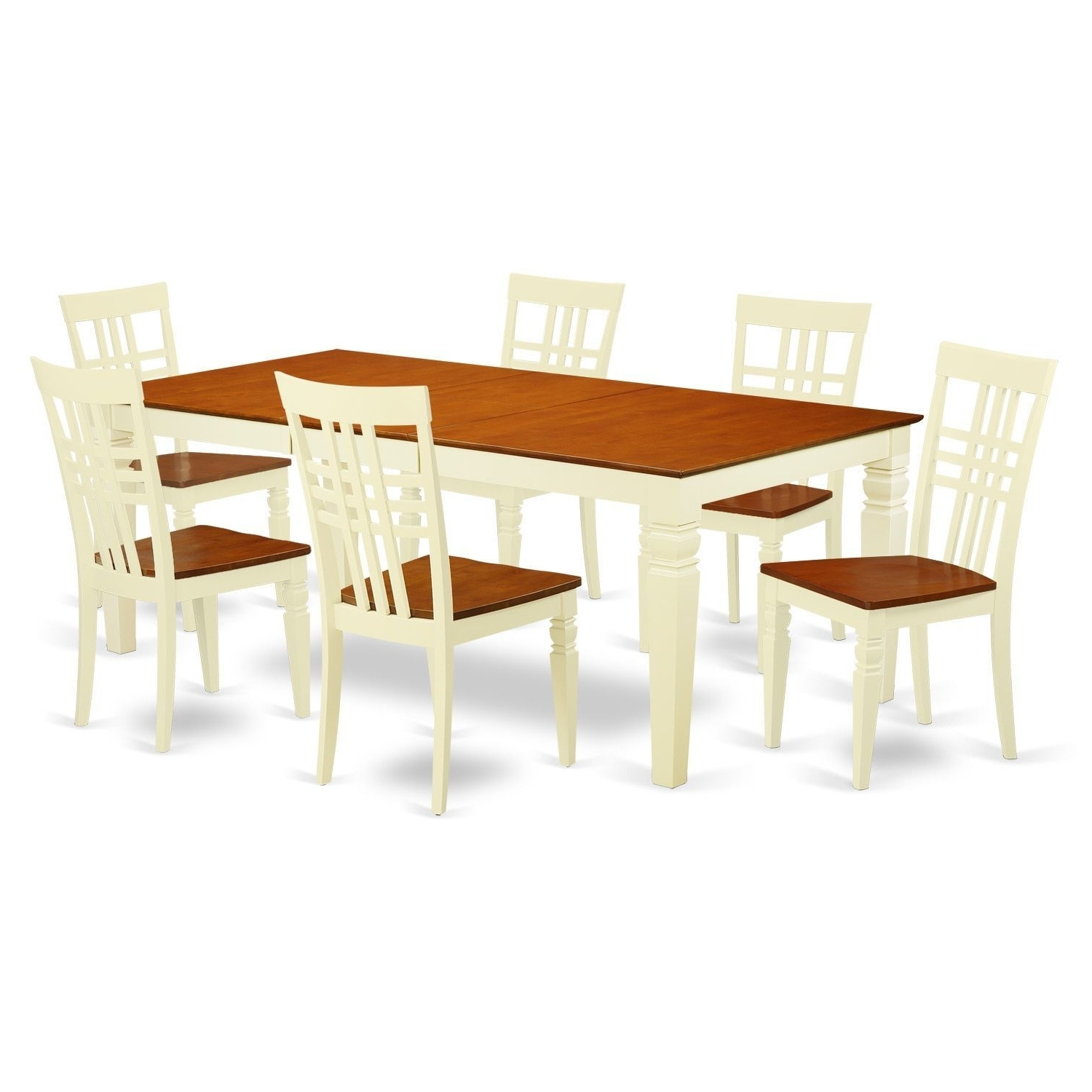 Logan 7 Piece Dining Sets Within 2017 Logan Wood Extendable Dining Table And 6 Chairs Set (Buttermilk (View 14 of 25)