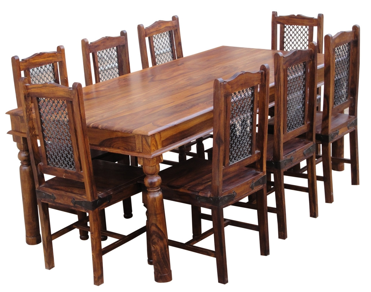 Lola Dining Set With 8 Chairs With Widely Used Sheesham Dining Tables 8 Chairs (View 3 of 25)