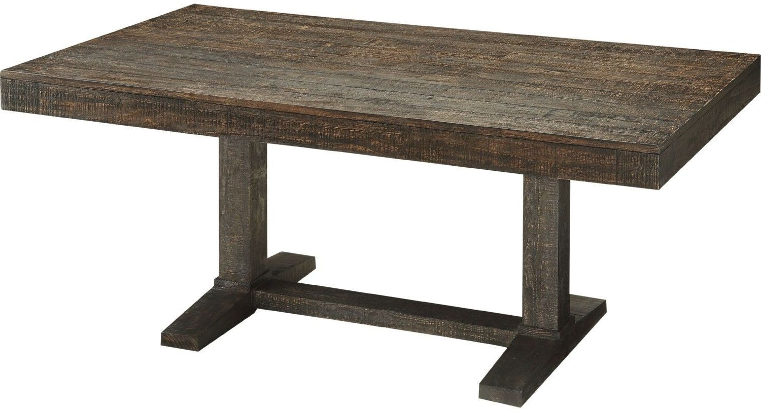 Long Dining Tables For Well Known Acme Eliana Salvage Dark Oak Trestle Long Dining Table – Eliana (View 14 of 25)