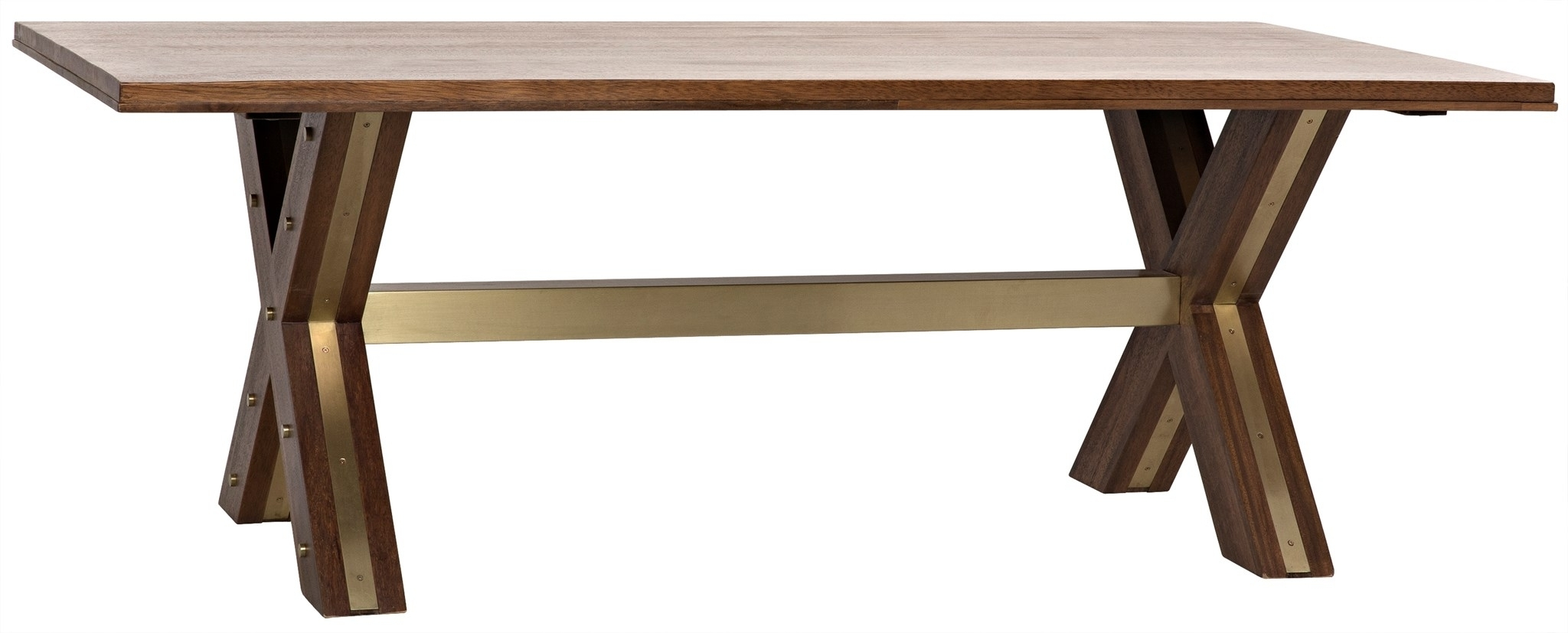 "Long Dining Tables With Newest 84"" Long Dining Table Solid Walnut Wood Dark Brown Finish Brass (View 14 of 25)"