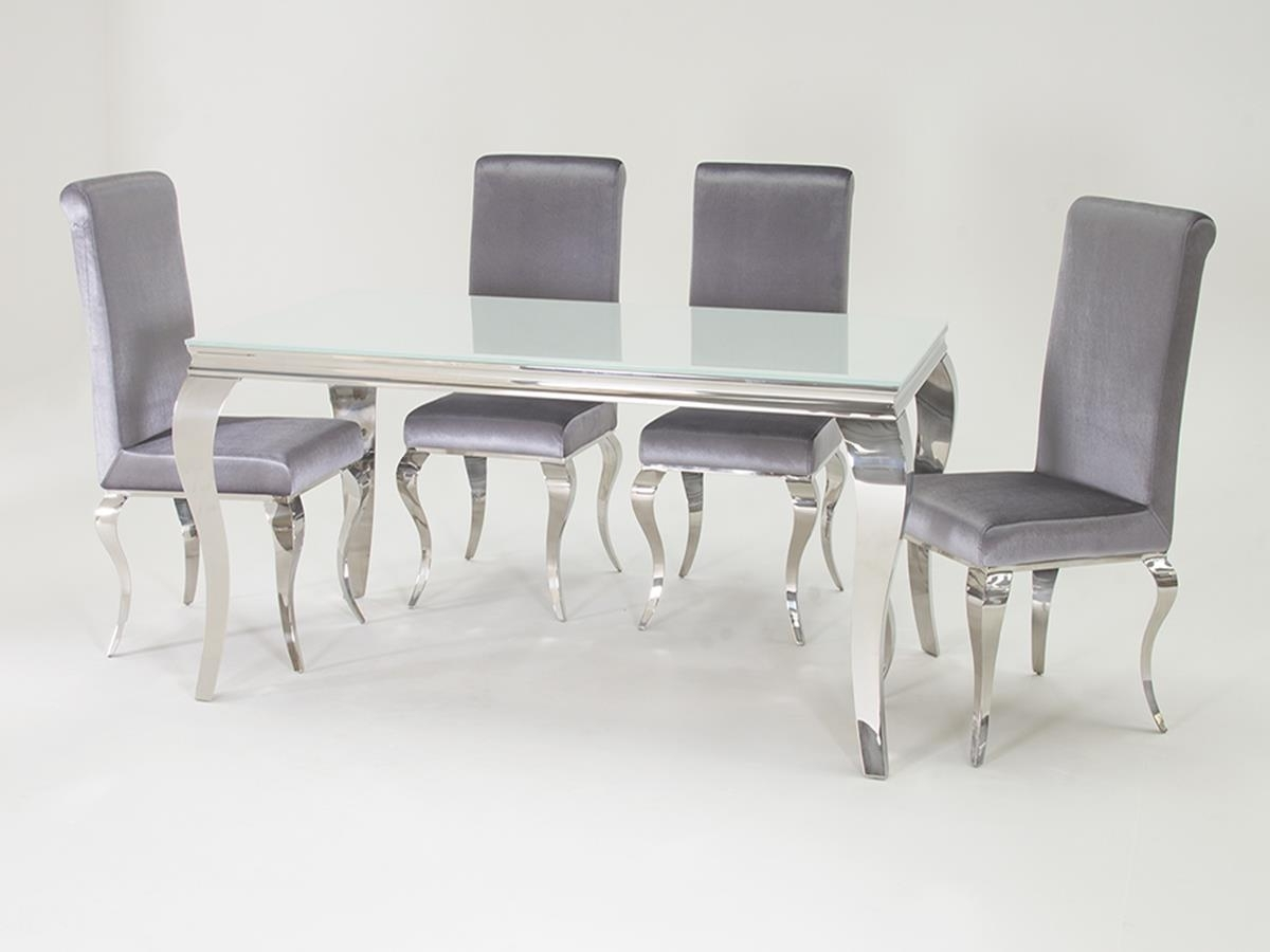 Louis Dining Set White 4 Chairs – Home Living Pertaining To Popular White Dining Sets (View 14 of 25)