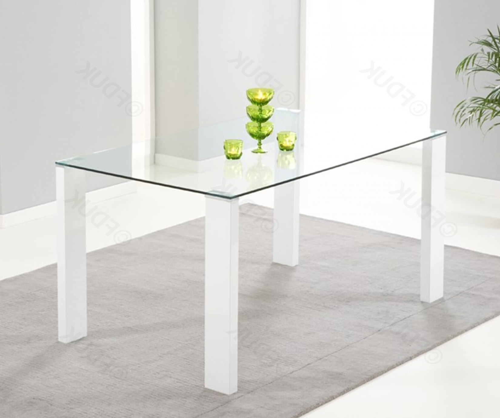 Lourdes Glass And White High Gloss Dining Table Regarding Widely Used Glass And White Gloss Dining Tables (View 15 of 25)