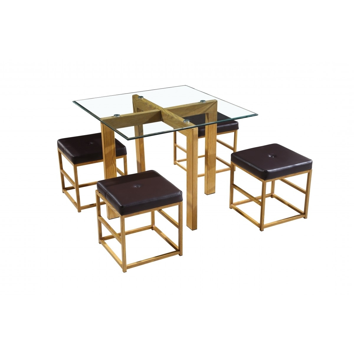 Lpd Cube Dining Table & Chairs Set – Oak/brown – Home Done With Favorite Cube Dining Tables (View 13 of 25)