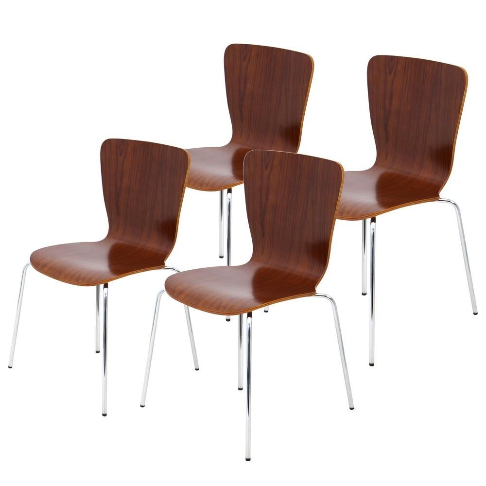 Lumisource Bentwood Stacker Walnut With Chrome Dining Chair In Legs Within Fashionable Chrome Dining Chairs (View 16 of 25)