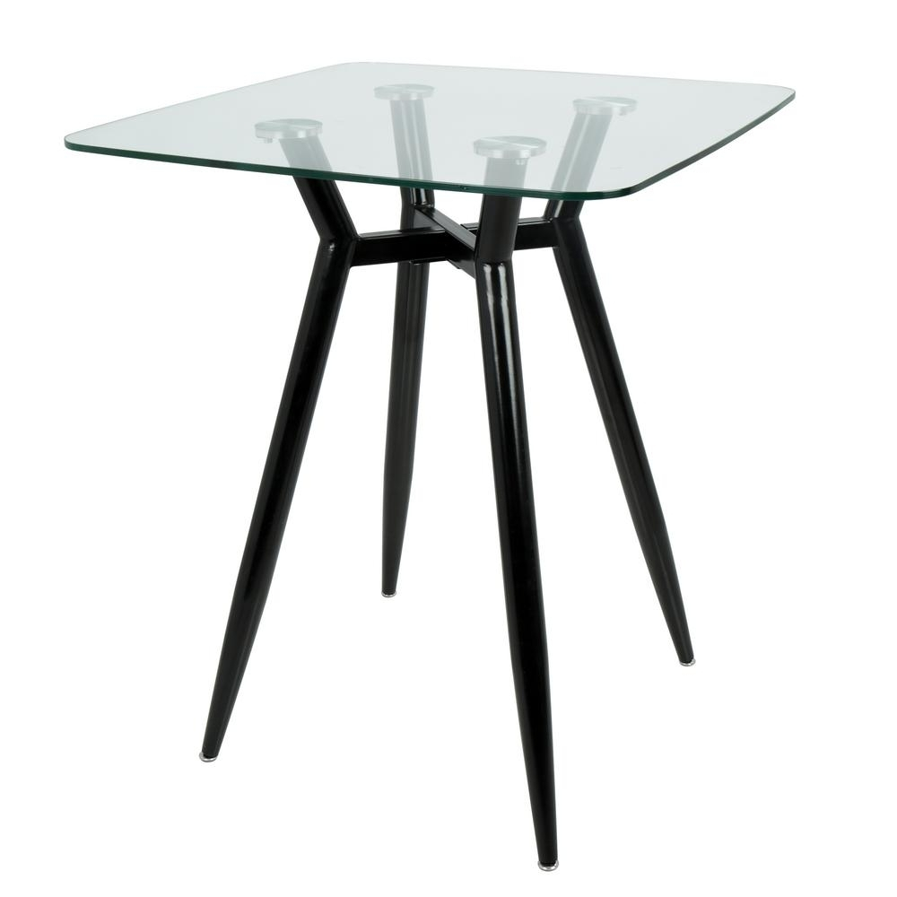 Lumisource Clara Black Metal And Clear Glass Square Counter Height For Newest Square Black Glass Dining Tables (View 10 of 25)