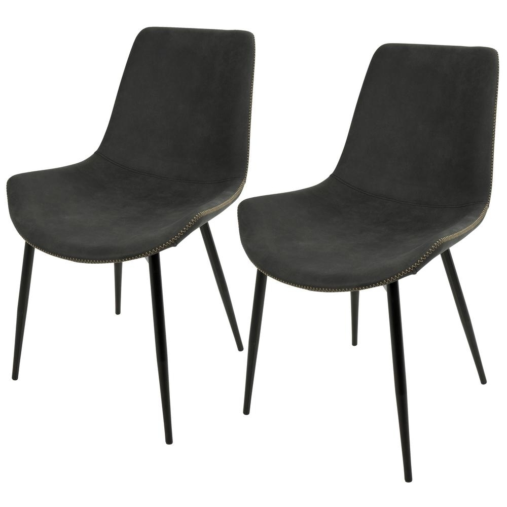 Lumisource Duke Black And Grey Dining Chair (Set Of 2) Dc Dukz Bk+ Throughout Best And Newest Grey Dining Chairs (View 16 of 25)