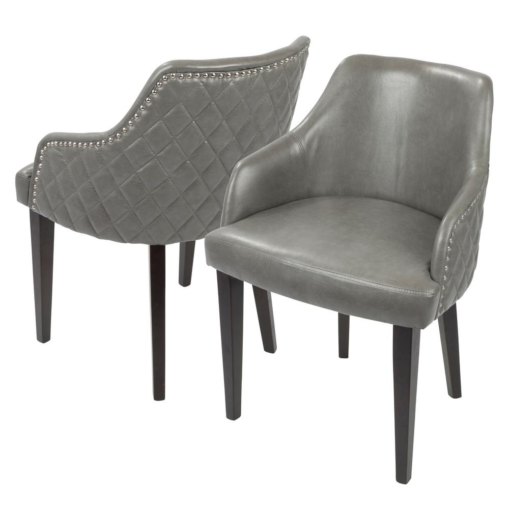 Lumisource Esteban Grey Faux Leather With Chrome Studded Trim Dining With Best And Newest Chrome Leather Dining Chairs (View 17 of 25)