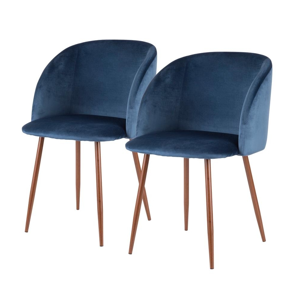 Lumisource Fran Blue Velvet Dining Chair (Set Of 2) Ch Fran Wl+Bu2 Pertaining To Most Up To Date Velvet Dining Chairs (View 5 of 25)
