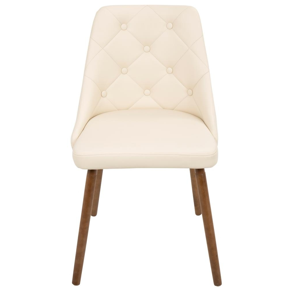 Lumisource Giovanni Mid Century Cream Modern Button Tufted Dining Within Best And Newest Cream Faux Leather Dining Chairs (View 2 of 25)