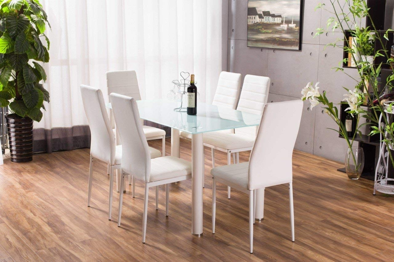 Lunar Rectangle Glass Dining Table Set And 6 White Faux Leather Inside Popular Glass Dining Tables White Chairs (View 19 of 25)