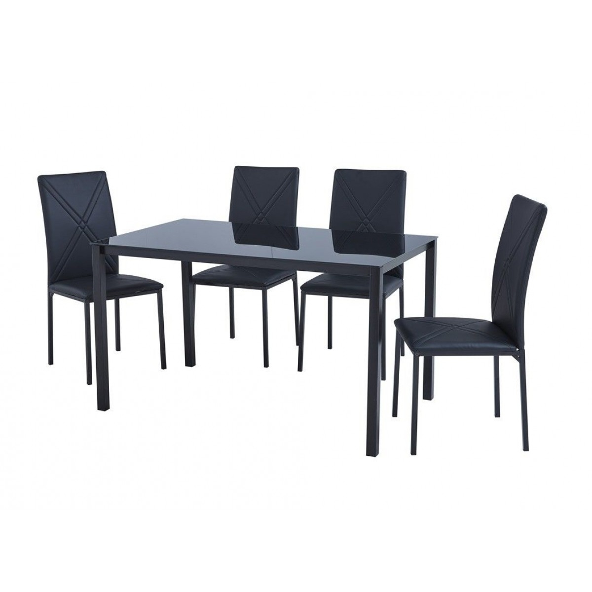 Luxury Black Glass Dining Table & 4 Faux Leather Chairs Set Inside Most Up To Date Black Glass Dining Tables And 4 Chairs (View 21 of 25)