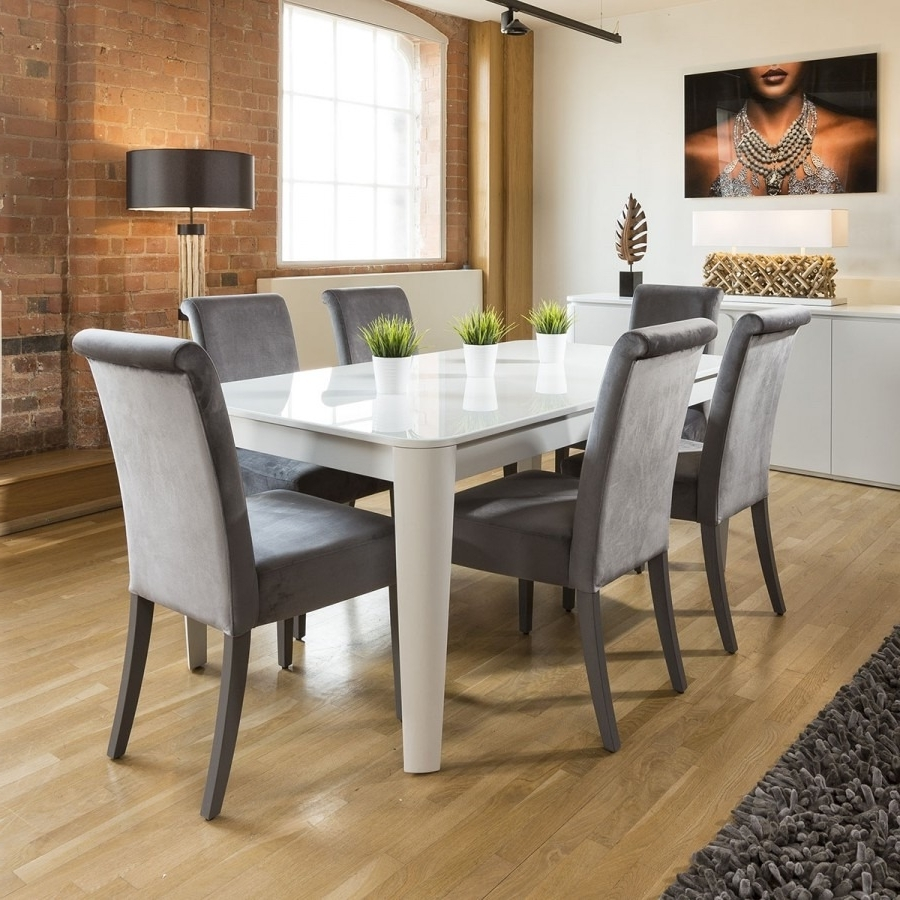 Luxury Extending Dining Set Glass Top Table 6 Grey Velvet Chairs Within Famous Extending Dining Tables With 6 Chairs (View 10 of 25)