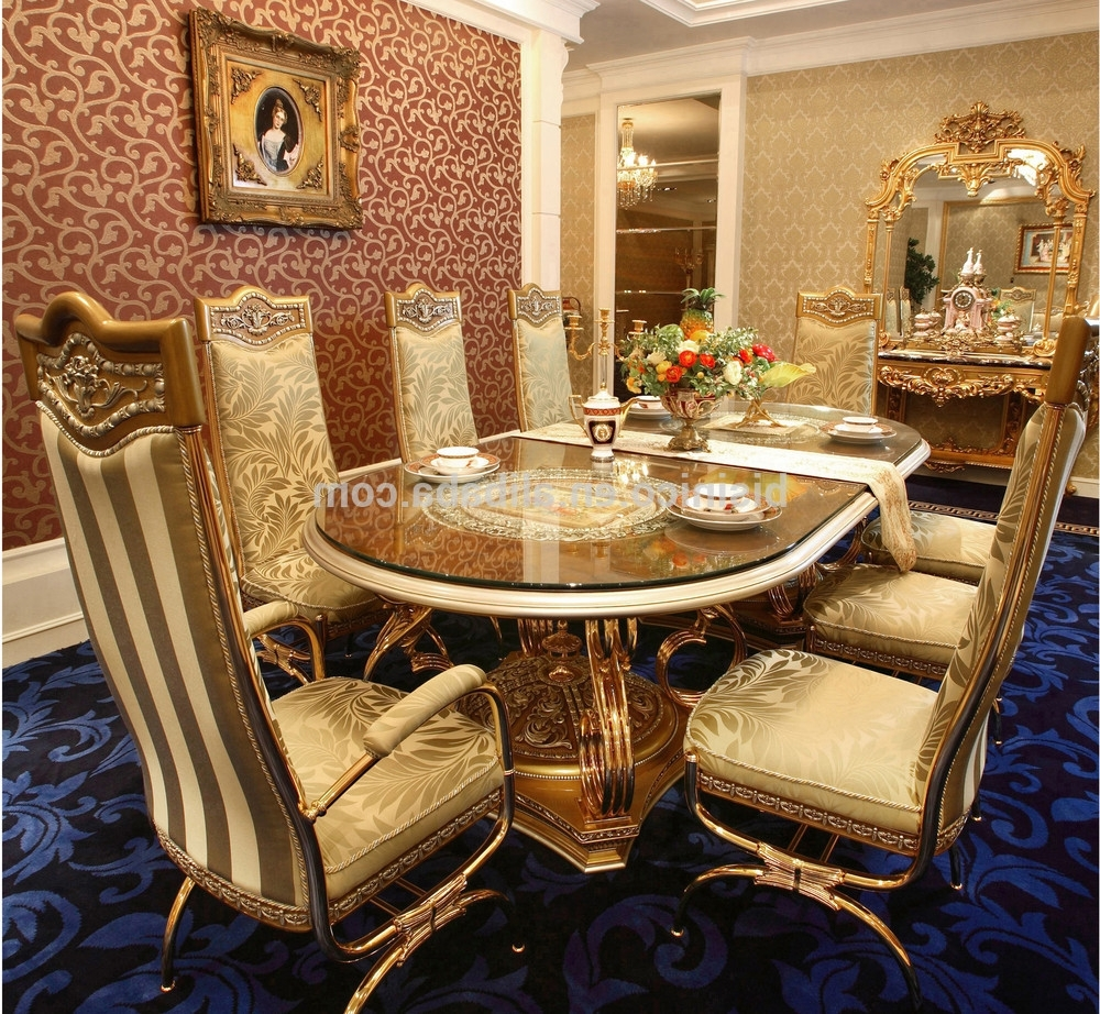 Luxury French Baroque Design Golden Brass Dining Table With Wooden Pertaining To Most Recently Released Royal Dining Tables (View 8 of 25)