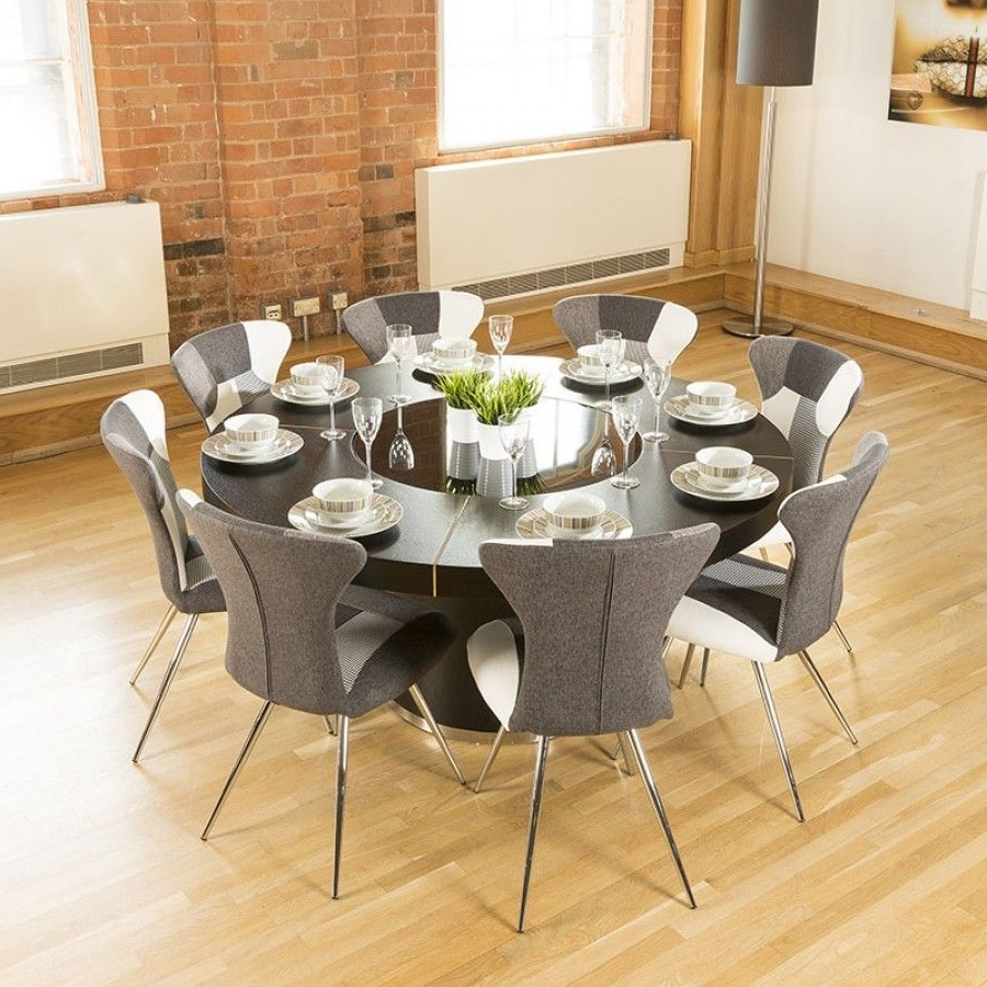 Luxury Large Round Black Oak Dining Table Lazy Susan+8 Chairs 4173 B For Widely Used Oak Dining Tables 8 Chairs (View 8 of 25)