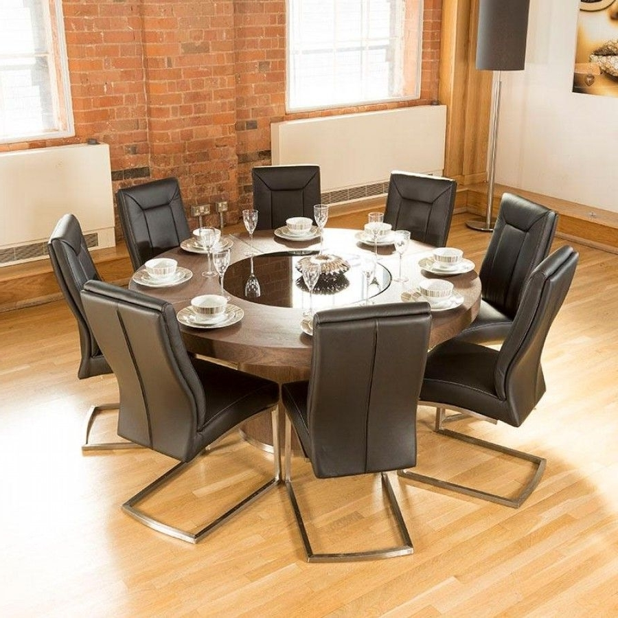 Luxury Large Round Elm Dining Table Lazy Susan + 8 Chairs 4110 Black Regarding Best And Newest Black Circular Dining Tables (View 16 of 25)