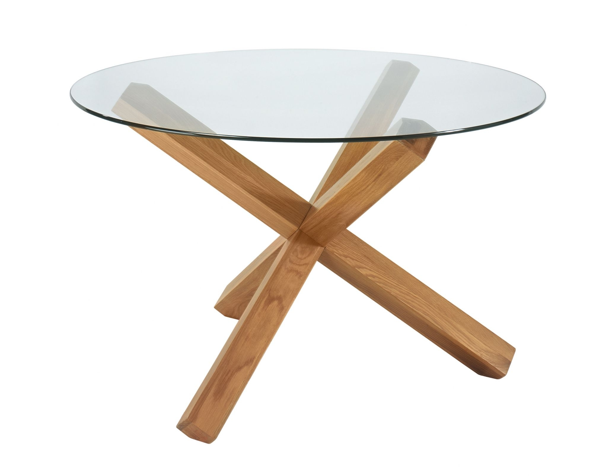 Lyon Glass Top Round Table Within Well Liked Glass Top Oak Dining Tables (View 11 of 25)
