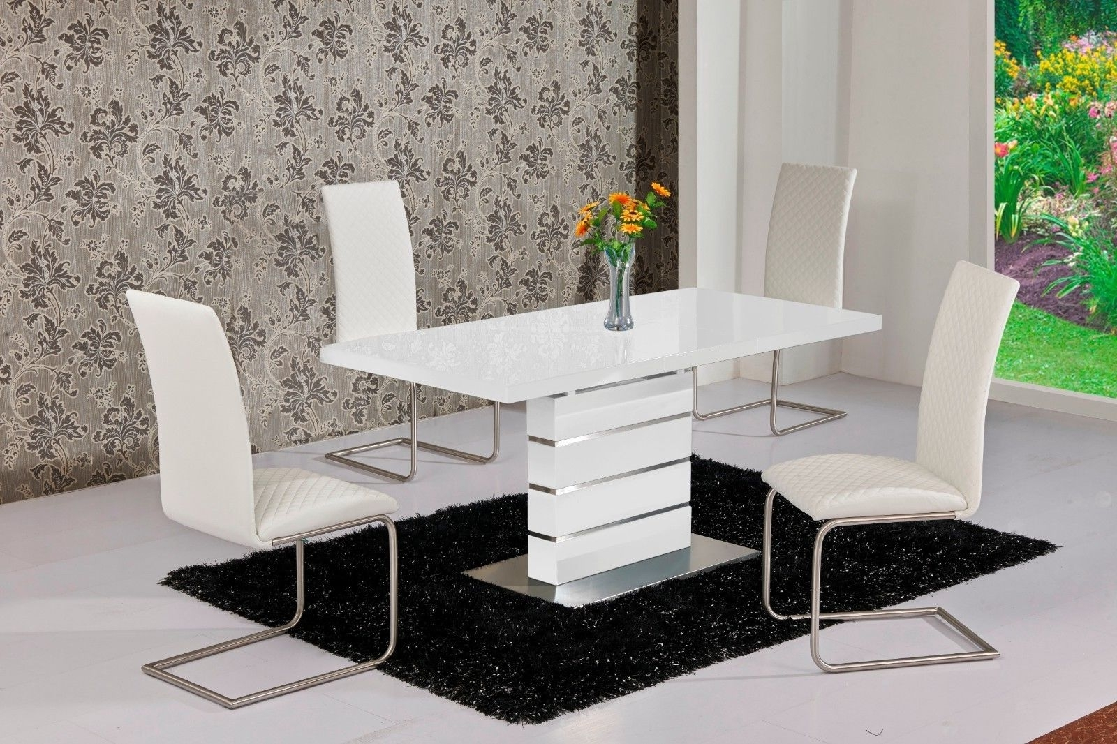 Mace High Gloss Extending 120 160 Dining Table & Chair Set – White For Fashionable Extending Dining Tables With 6 Chairs (View 11 of 25)