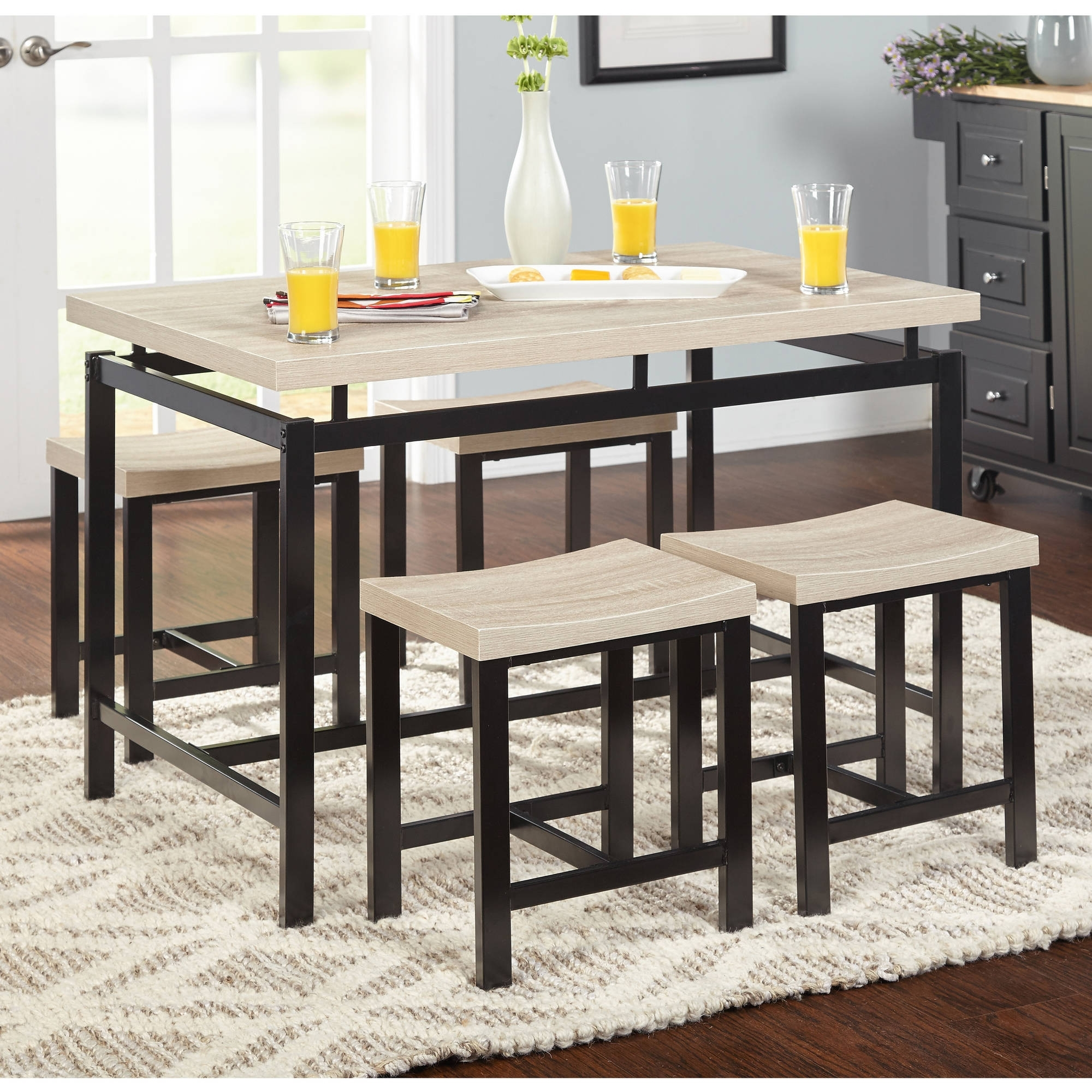 Macie 5 Piece Round Dining Sets Intended For Best And Newest Black Wood Dining Set Contemporary 5 Piece Delano Natural Walmart (View 17 of 25)
