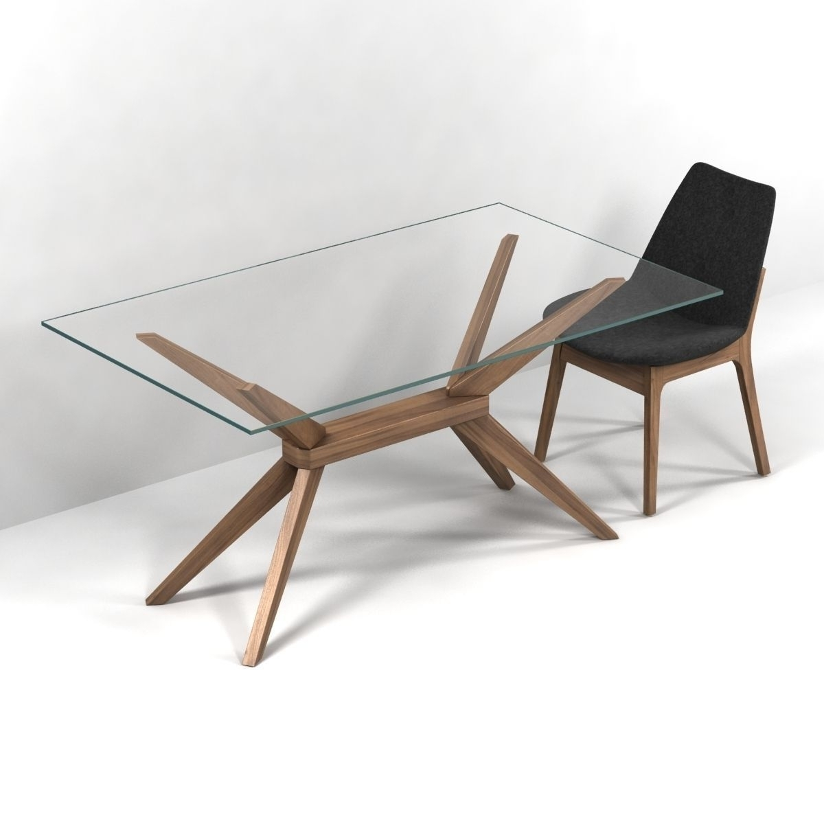 Magna Glass Dining Tableinmod Sohoconcept Eiffel Wood Chair 3D With Regard To Fashionable Wood Glass Dining Tables (View 8 of 25)