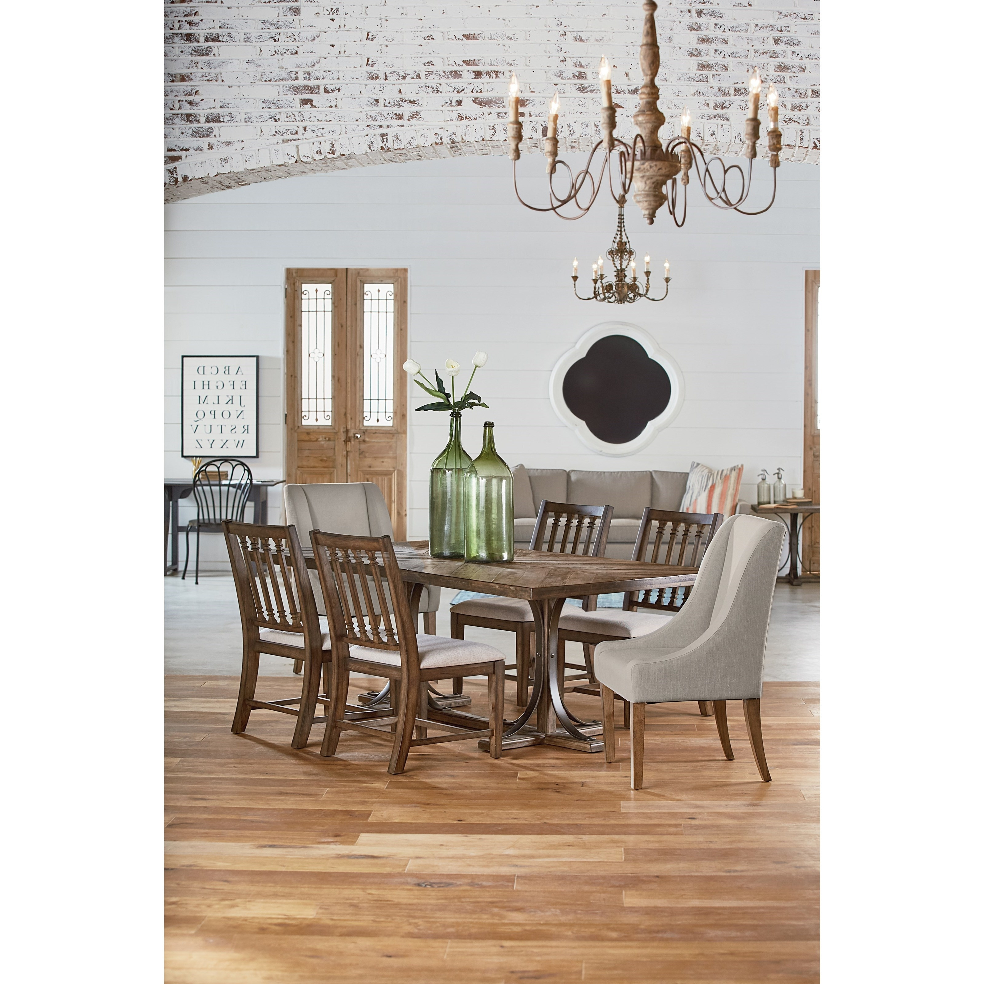 Magnolia Home Shop Floor Dining Tables With Iron Trestle Intended For Most Recent 6 Pc (View 10 of 25)