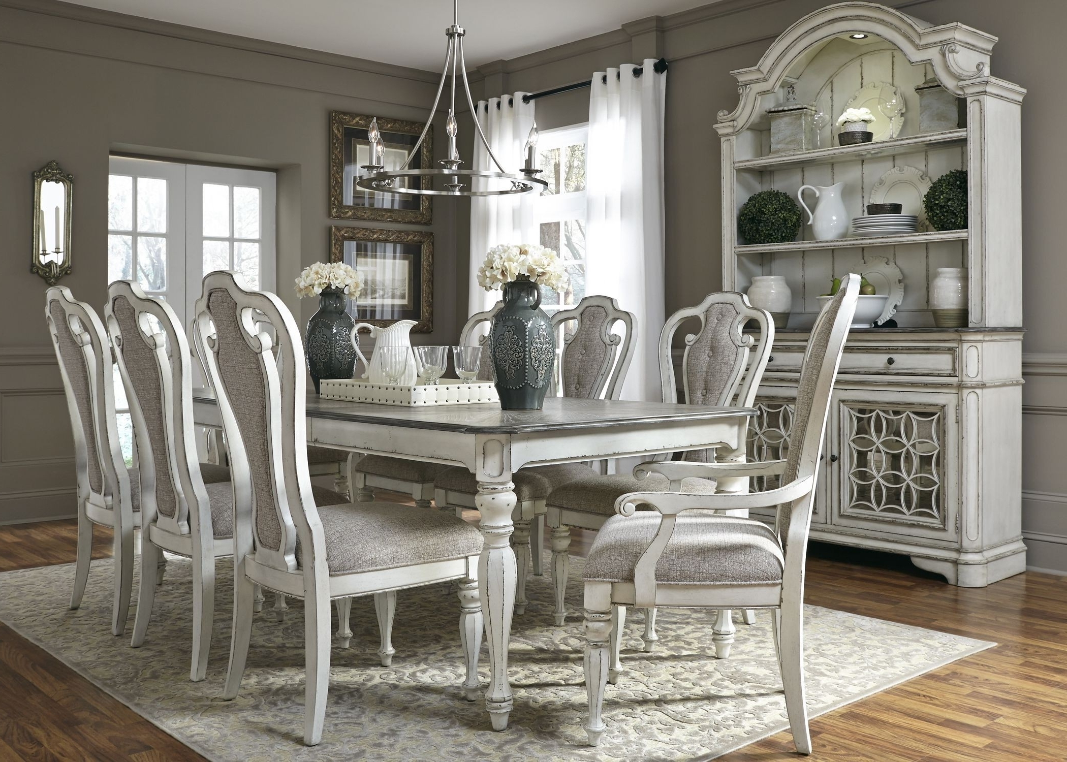 """Magnolia Manor Antique White 108"""" Extendable Rectangular Dining Room Within Well Known Magnolia Home Breakfast Round Black Dining Tables (View 18 of 25)"""