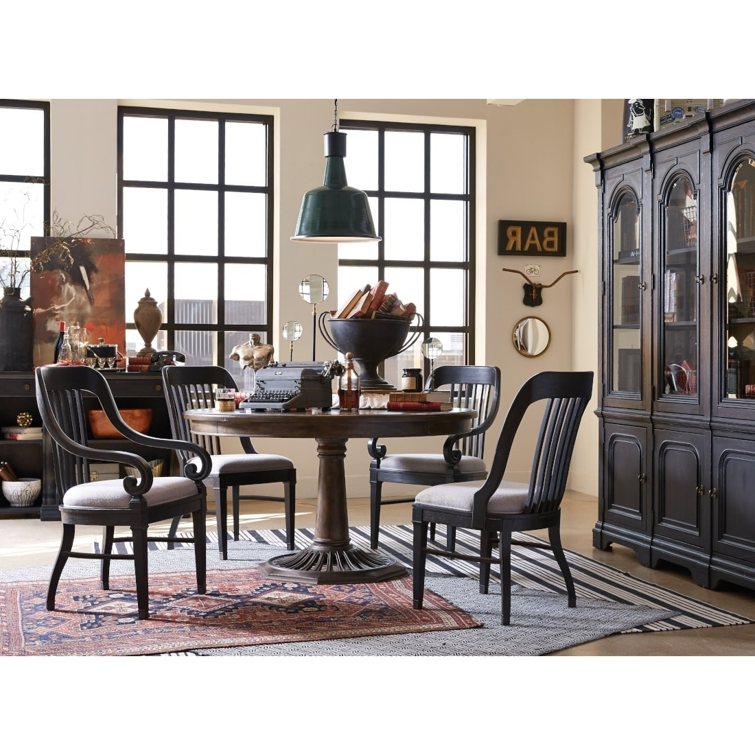 Magnussen Hudson Square 5Pc Round Dining Table Set In Vintage Within Favorite Hudson Round Dining Tables (View 25 of 25)