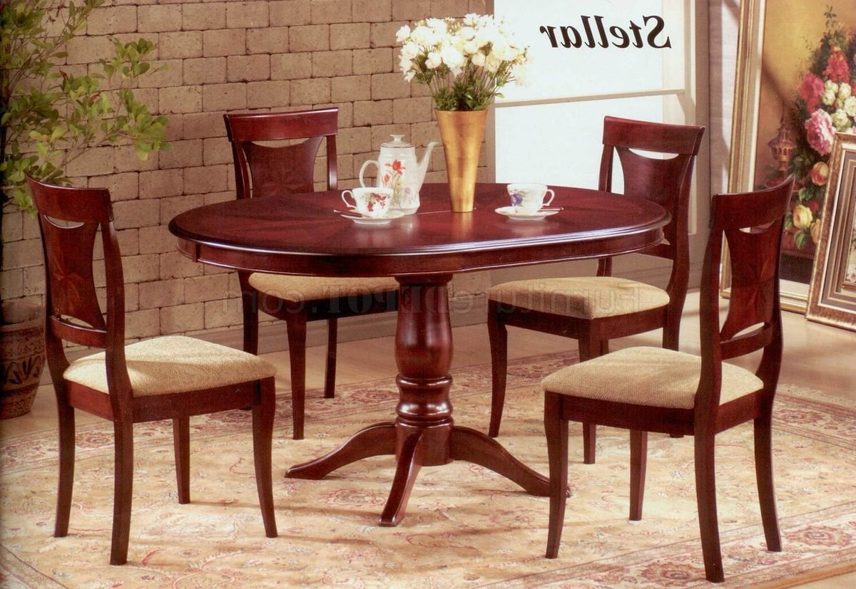 Mahogany Dining Table Sets With Regard To Famous Mahogany Finish Modern Oval Dining Table W/optional Chairs (View 16 of 25)