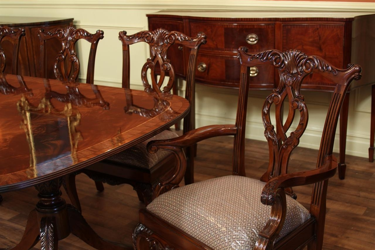 Mahogany Dining Table Sets Within Most Recently Released Fine American Finished Mahogany Dining Table Seats 14, Pedestal (View 16 of 25)