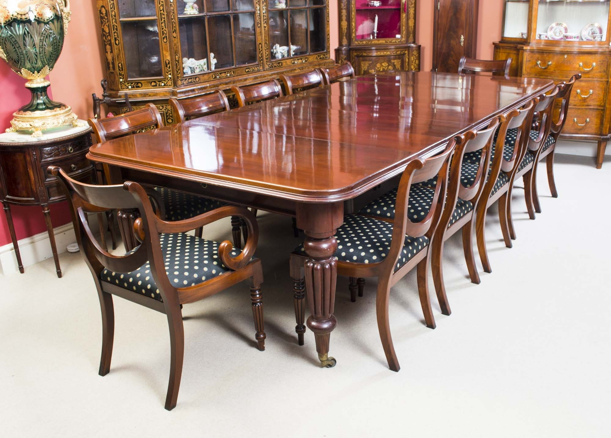 Mahogany Dining Tables And 4 Chairs Inside Newest Antique Victorian Dining Table C.1850 & 12 Chairs (Gallery 25 of 25)