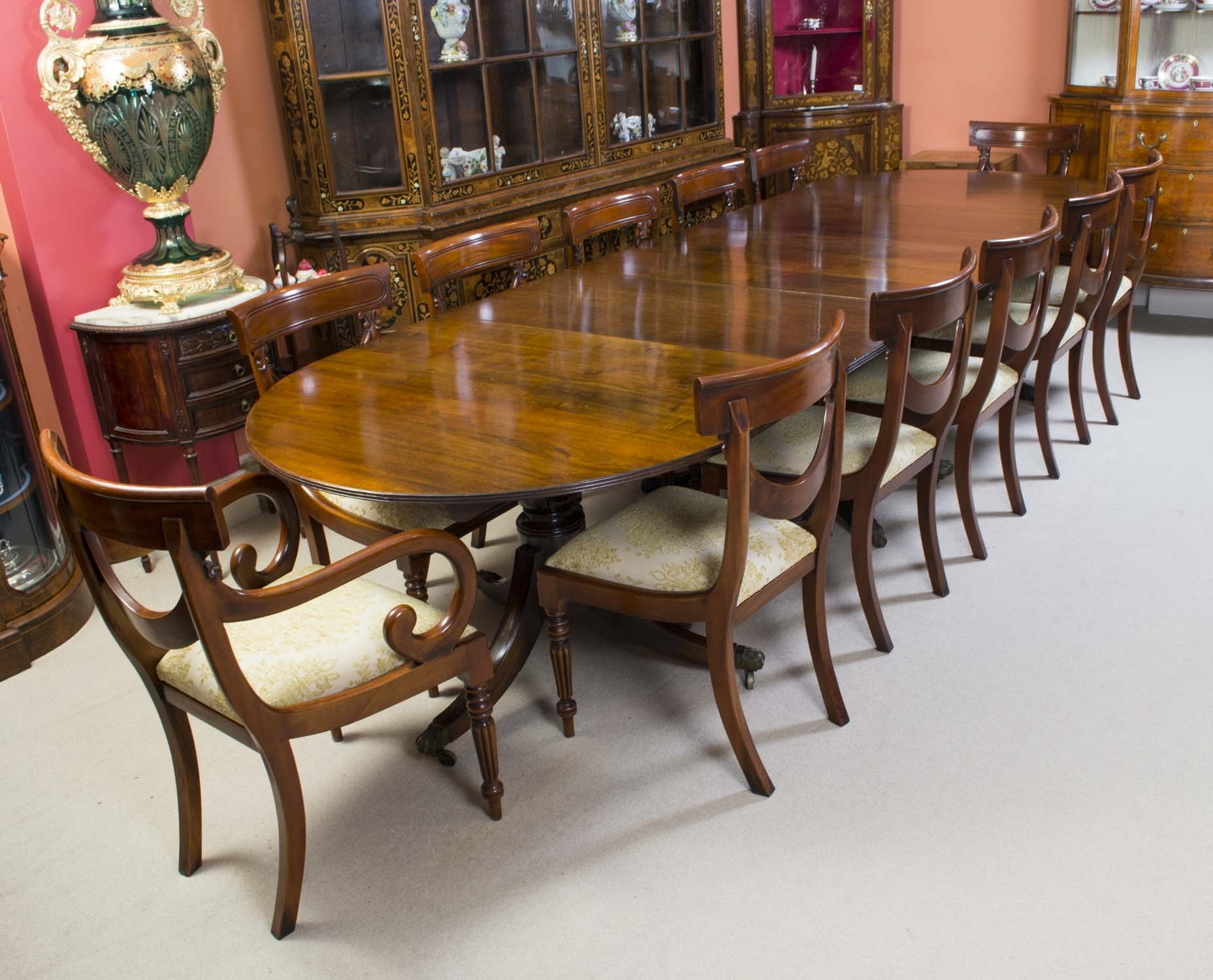 Mahogany Dining Tables Sets Intended For Best And Newest Antique Regency Mahogany Dining Table C1920 & 12 Chairs (View 16 of 25)