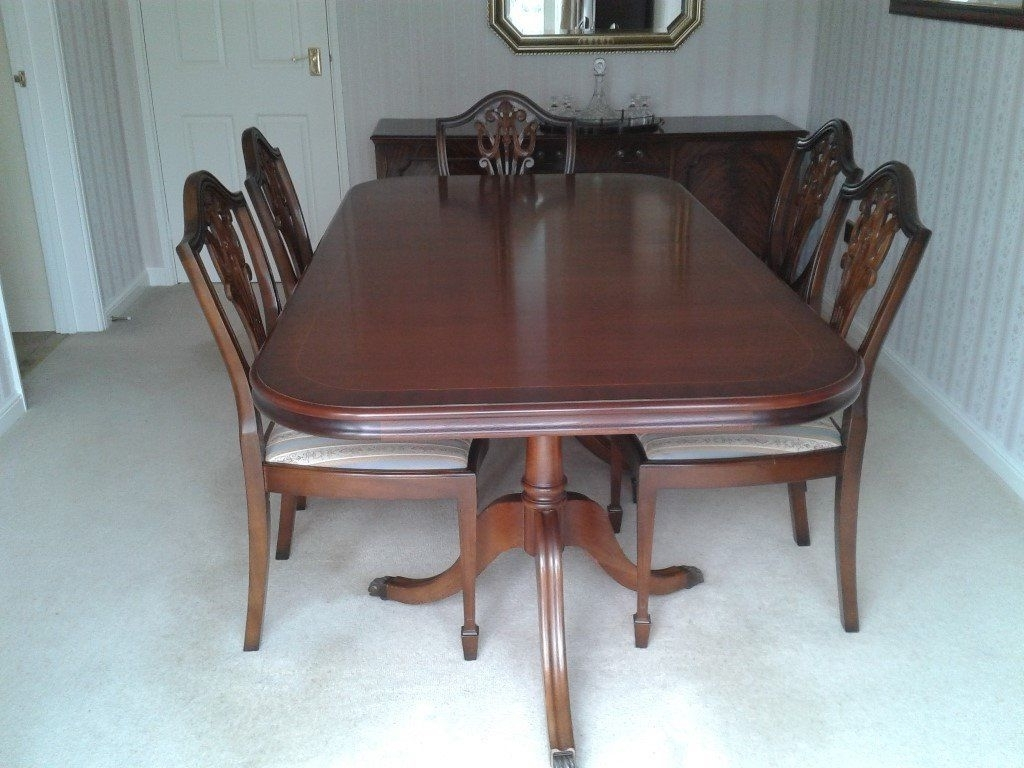 Mahogany Extending Dining Tables And Chairs For Recent Mahogany Extending Dining Table And 6 Chairs. (Gallery 15 of 25)