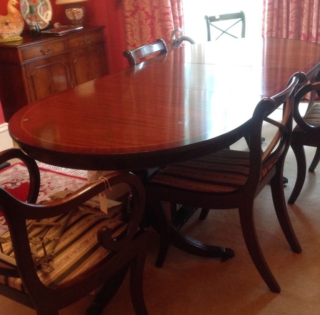 Mahogany Extending Dining Tables And Chairs With Regard To Trendy Mahogany Extending Dining Table Chairs, Regency Style (Gallery 2 of 25)