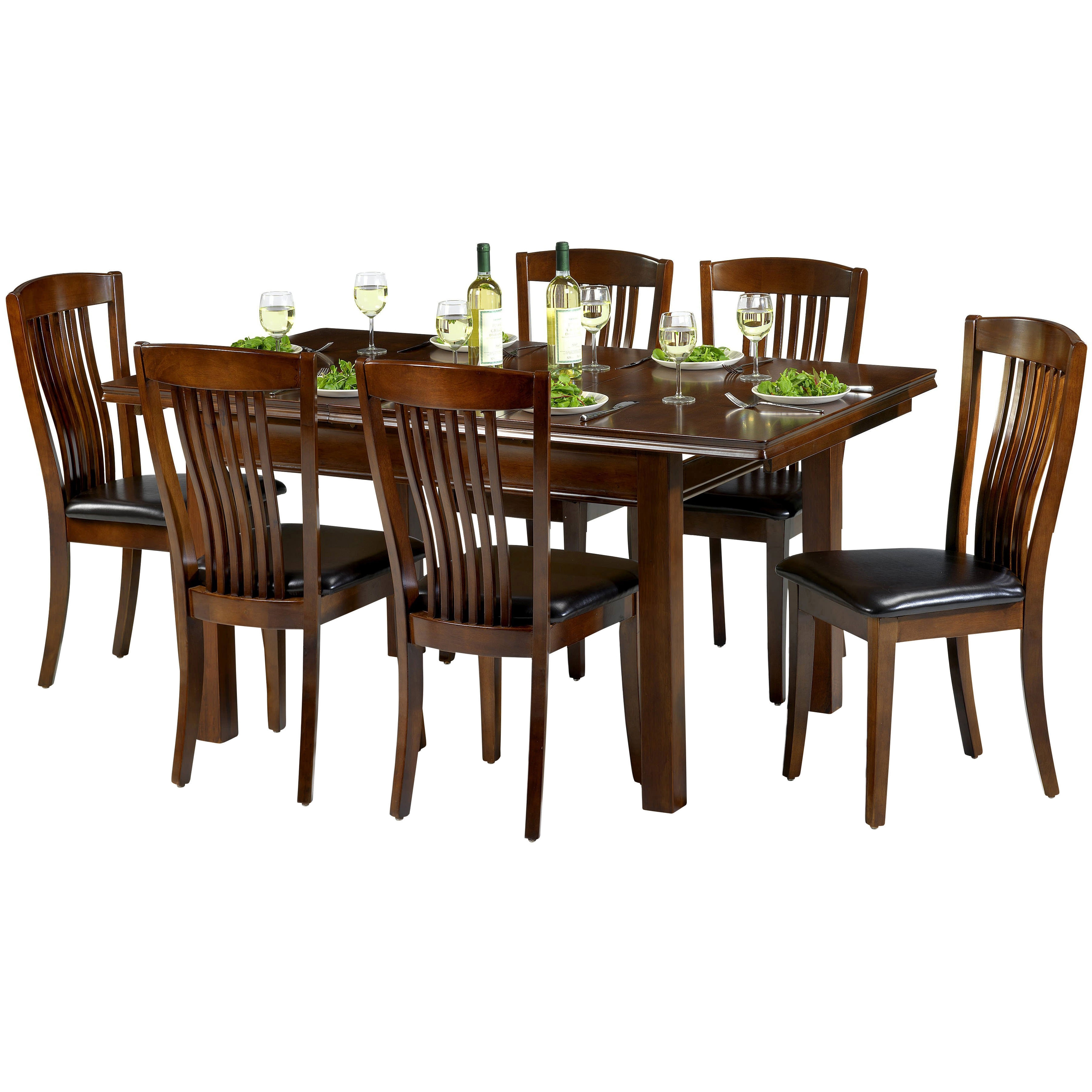 Mahogany Finish Extending Extendable Dining Table And Chair Set With Pertaining To Most Up To Date Mahogany Extending Dining Tables And Chairs (View 14 of 25)