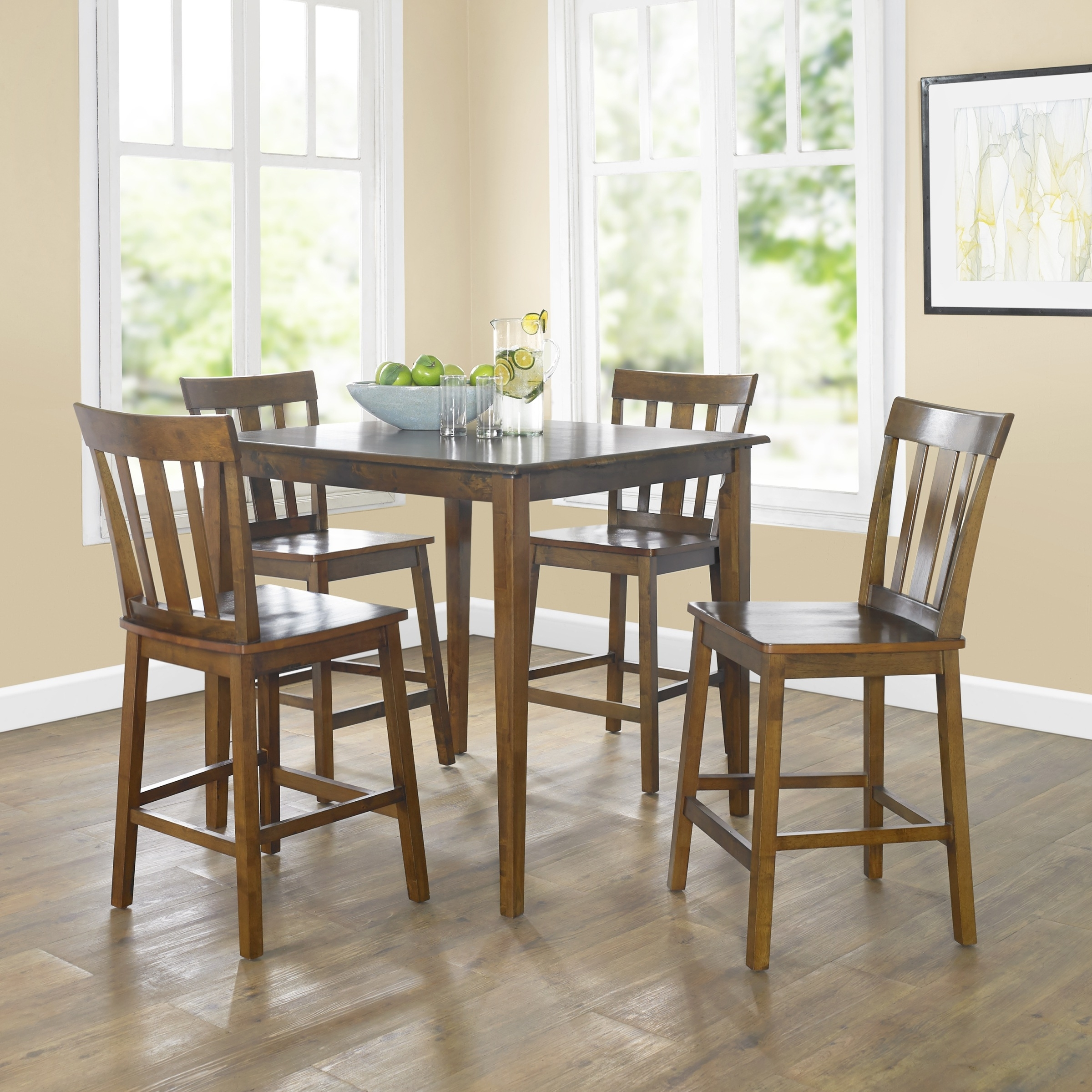 Mainstays 5 Piece Mission Counter Height Dining Set – Walmart Inside Best And Newest Laurent 7 Piece Rectangle Dining Sets With Wood Chairs (View 16 of 25)