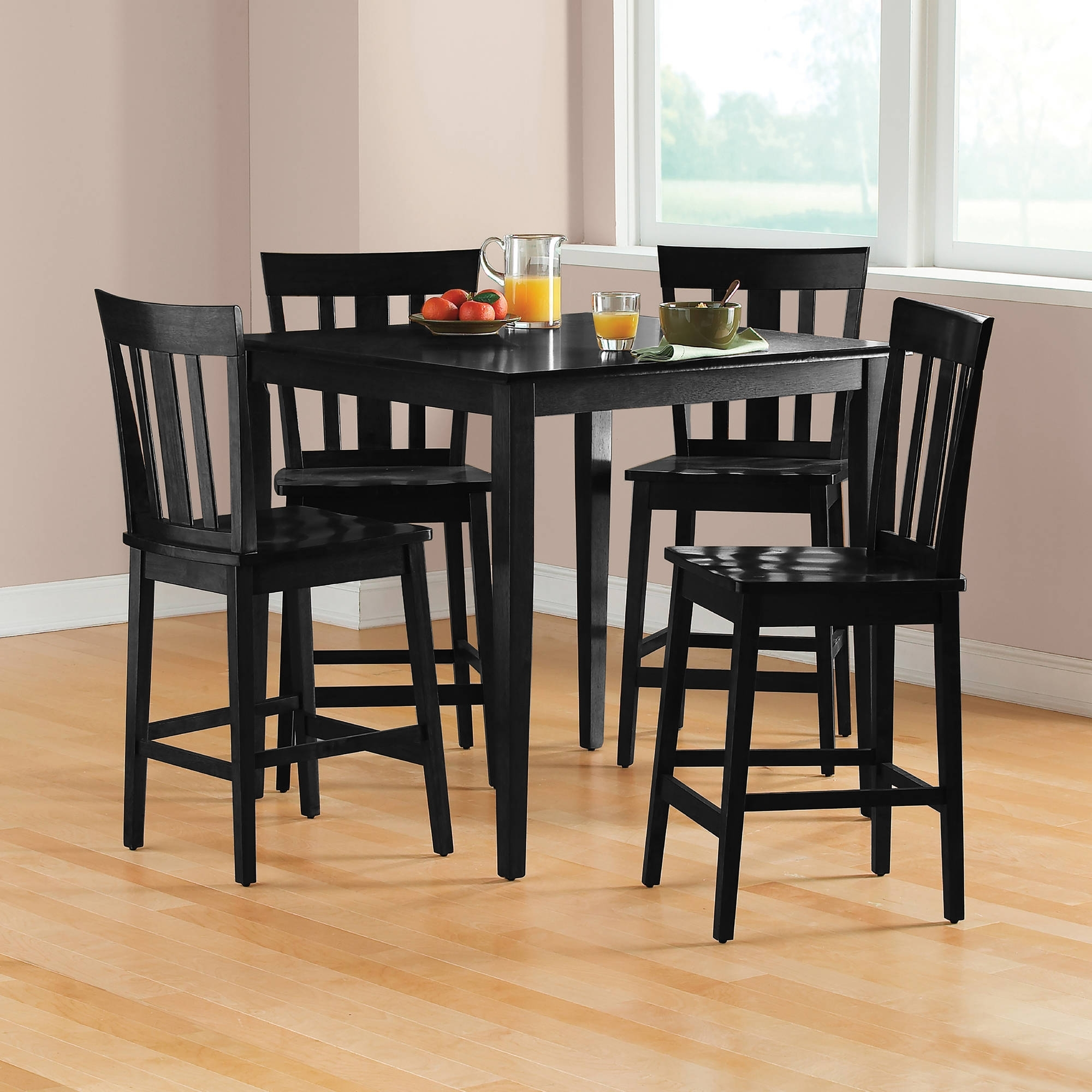 Mainstays 5 Piece Mission Counter Height Dining Set – Walmart Inside Latest Cheap Dining Room Chairs (Gallery 16 of 25)