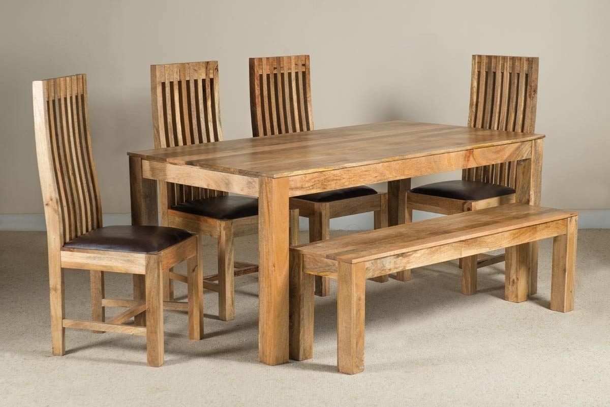 Mango Natural & Leather 6 Seater Dining Set With Bench (View 3 of 25)