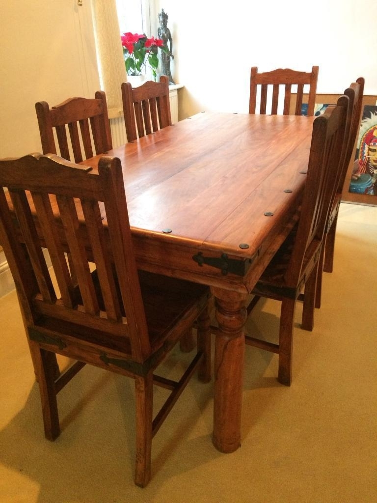 Mango Wood & Cast Iron Dining Table With 6 Chairs (View 13 of 25)