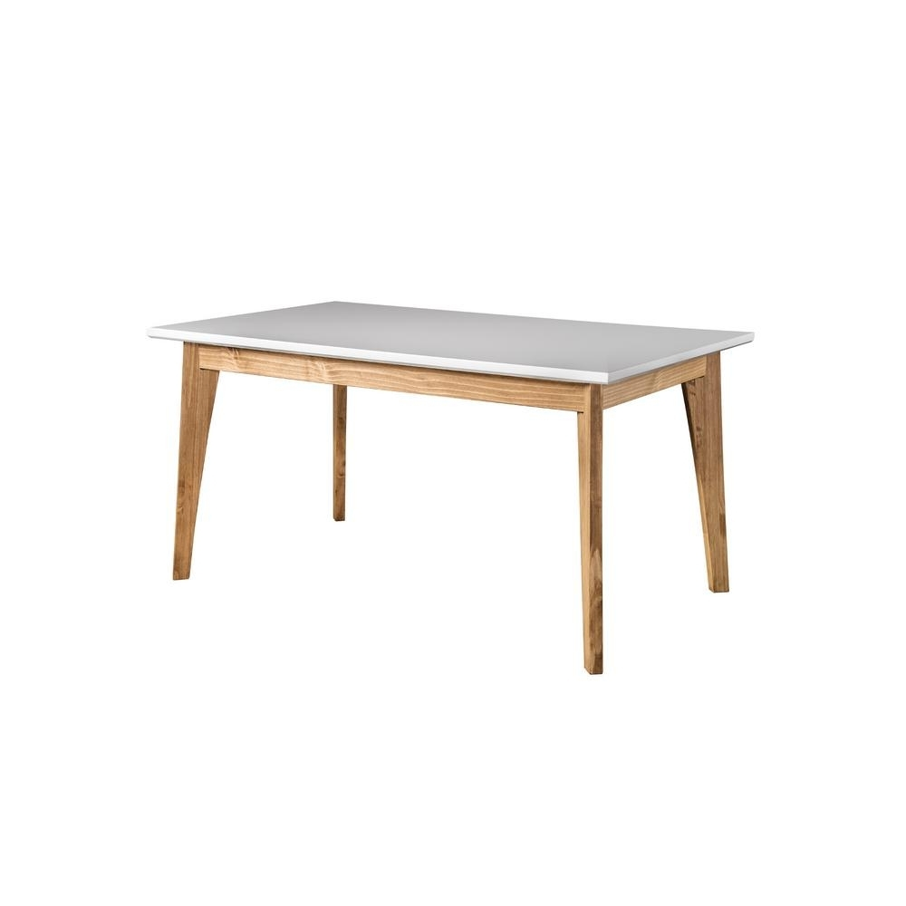 Manhattan Comfort Jackie White And Natural Wood 6 Seat Dining Table For Trendy 6 Seat Dining Tables (View 22 of 25)